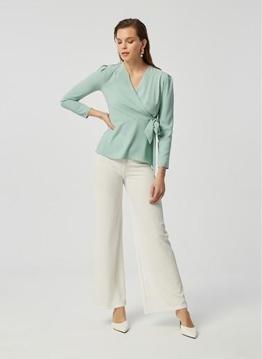 Monamoda Kaşkorse Relax Fit Pantolon Beyaz